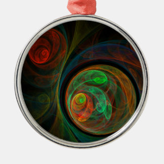 Rebirth Green Abstract Art Round Silver-Colored Round Ornament