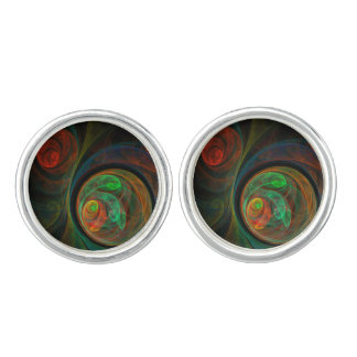 Rebirth Green Abstract Art Silver Plated Cuff Links