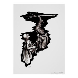 Rebirth surreal black and white ink pen drawing poster