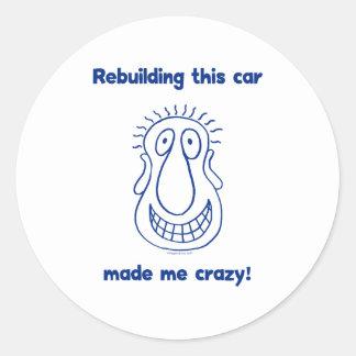 Rebuilding An Old Car Round Sticker