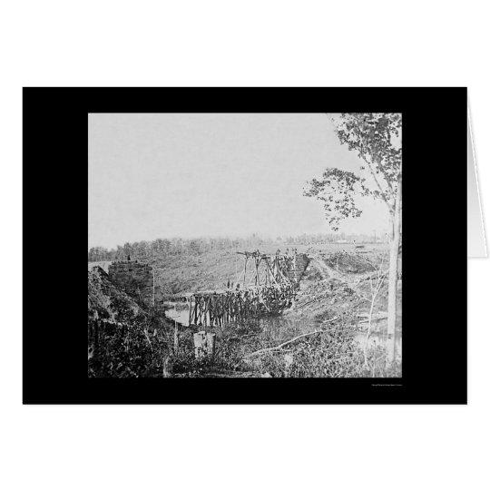 Rebuilding Railroad Bridge Over Cedar Run, VA 1863 Card