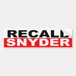 Recall Governor Rick Snyder Bumper Sticker