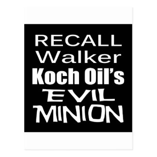 Recall Governor Scott Walker Corporate Evil Minion Postcard