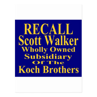 Recall Governor Scott Walker Corporate Minion Postcard