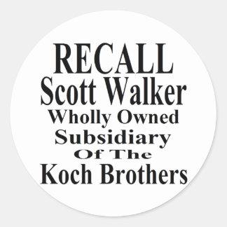 Recall Governor Scott Walker Corporate Minion Round Sticker