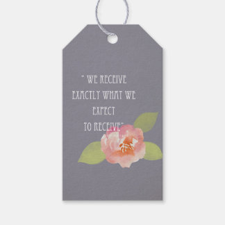 RECEIVE WHAT WE EXPECT TO RECEIVE PINK FLORAL GIFT TAGS