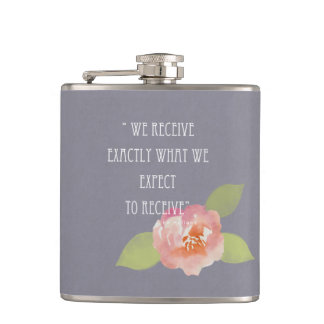RECEIVE WHAT WE EXPECT TO RECEIVE PINK FLORAL HIP FLASK