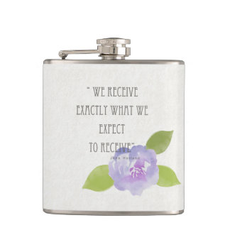 RECEIVE WHAT WE EXPECT TO RECEIVE PURPLE FLORAL HIP FLASK