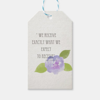 RECEIVE WHAT WE EXPECT TO RECEIVE PURPLE FLORAL PACK OF GIFT TAGS