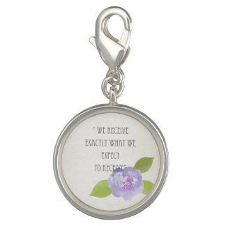 RECEIVE WHAT WE EXPECT TO RECEIVE PURPLE FLORAL PHOTO CHARM