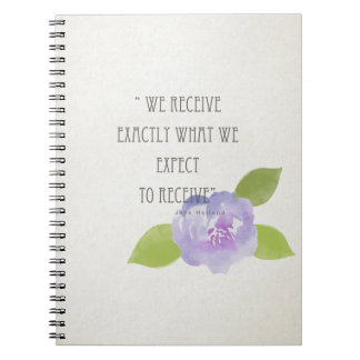 RECEIVE WHAT WE EXPECT TO RECEIVE PURPLE FLORAL SPIRAL NOTEBOOKS
