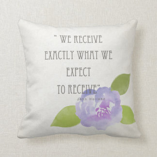 RECEIVE WHAT WE EXPECT TO RECEIVE PURPLE FLORAL THROW PILLOW