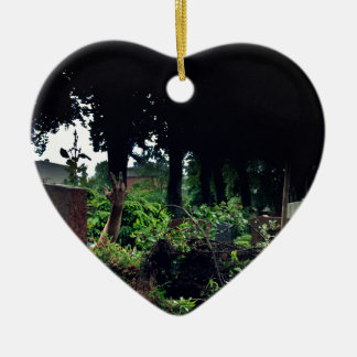 Recently on the cemetery ceramic heart ornament