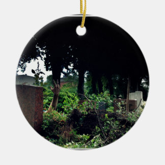 Recently on the cemetery round ceramic ornament