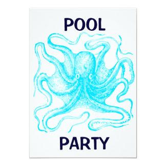 Réception au bord de la piscine bleue de poulpe carton d'invitation  12,7 cm x 17,78 cm