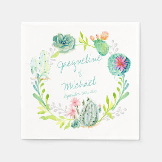 Reception Bridal Shower Cactus Succulent Desert Paper Napkins