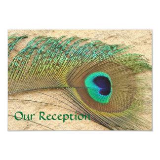 "RECEPTION CARDS PEACOCK FEATHER  BEACH WEDDING 3.5"" X 5"" INVITATION CARD"