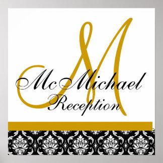 Réception de mariage de monogramme de damassé d or affiche