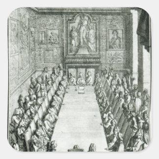 Réception d'un membre de l'académie française autocollant carré