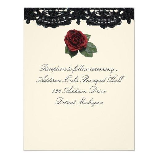 Reception invitation Design Roses and Cake