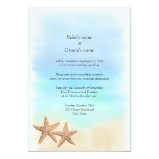 Reception Only Beach Theme Wedding Invitations