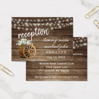 Reception - Rustic Wood Barrel with White Flowers Business Card