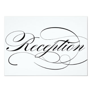 Reception sign for wedding in beautiful script card