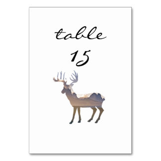 Reception Table Number Rustic Mountain Deer