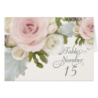Reception Table Numbers Pretty Pastel Rose Floral Card