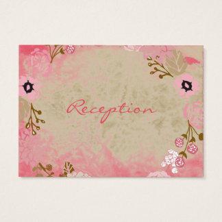 Reception -Vintage Pink Coral Garden Wreath Business Card