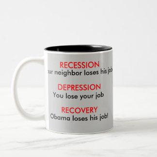 Recession, Depression, Recovery - Economy Two-Tone Coffee Mug