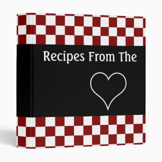 Recettes du livre de cuisine de damier de coeur classeur