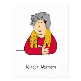 Réchauffeurs d'hiver, humeur d'écharpe de chat cartes postales
