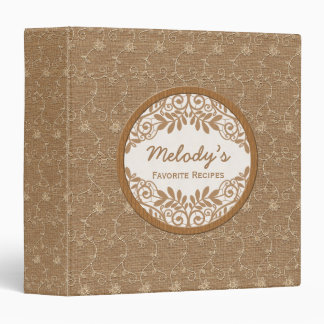 Recipe Binder | Bridal Shower | Rustic Burlap Lace