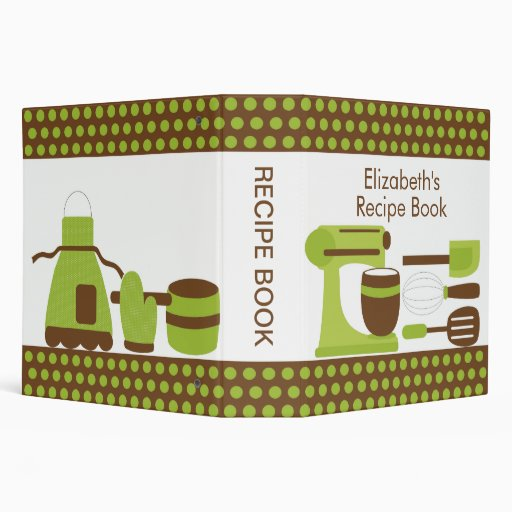 Recipe Binder Kitchen Accesories Green & Brown