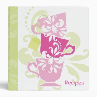 Recipe Book - Tea Cups 3 Ring Binder