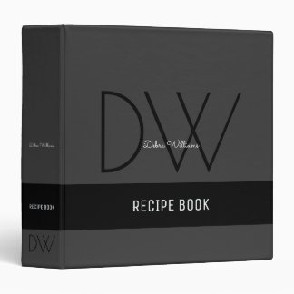 recipe book with custom monogram, black binders