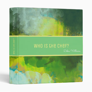 recipe book with custom name, abstract watercolor binders