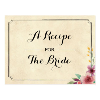 Recipe Bridal Party Cards Floral Bachelorette Card
