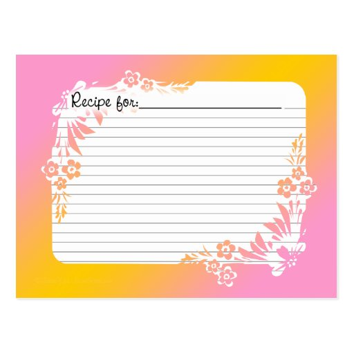 Recipe Cards with Equivalents on Floral Pastel Post Card