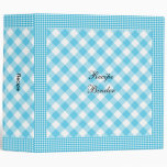 Recipe Country Style Blue White Check Vinyl Binder
