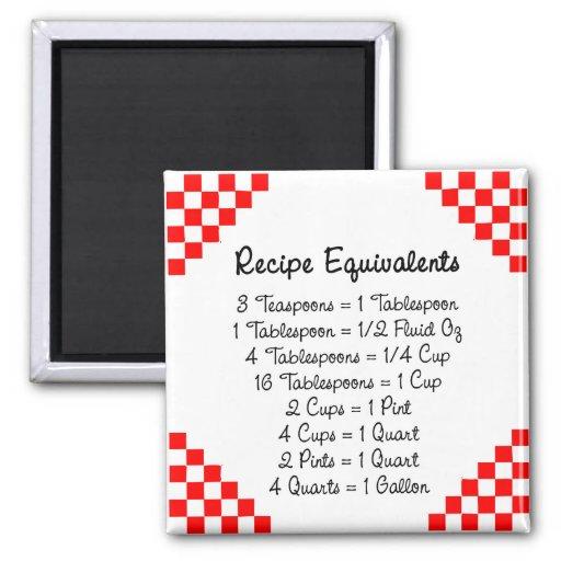 Recipe Equivalents Kitchen Helper Magnet Refrigerator Magnets