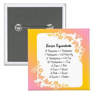 Recipe Equivalents Pastel Floral 2 Inch Square Button