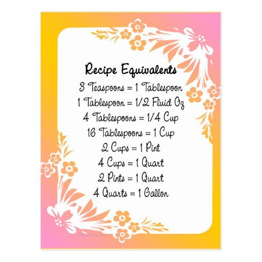 Recipe Equivalents Pastel Floral Post Card
