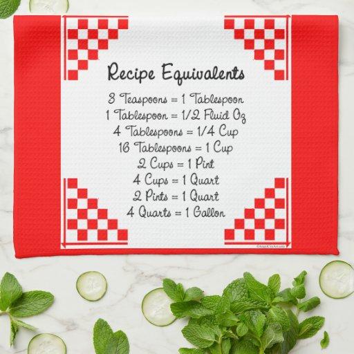 Recipe Equivalents Red Checks Hand Towel