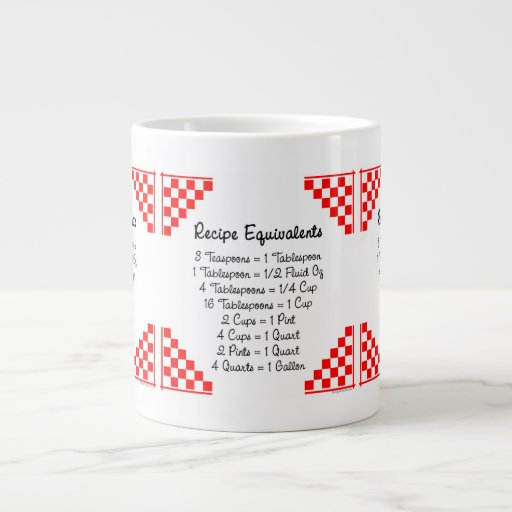 Recipe Equivalents Red Checks Jumbo Mug