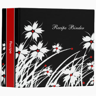 Recipe Floral Red Black White DECOR SETS Binders