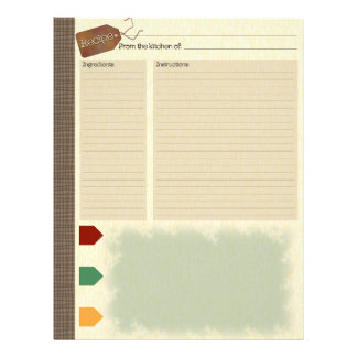Recipe Inserts for Recipe Binder Letterhead