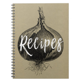 Recipe Notebook with a Vintage Onion Illustration