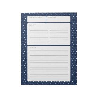 Recipe Page Blue and Polka Dots Notepad